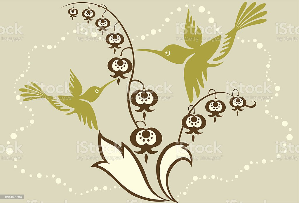 Humming Bird Mom & Child with Lily of the Valley royalty-free stock vector art
