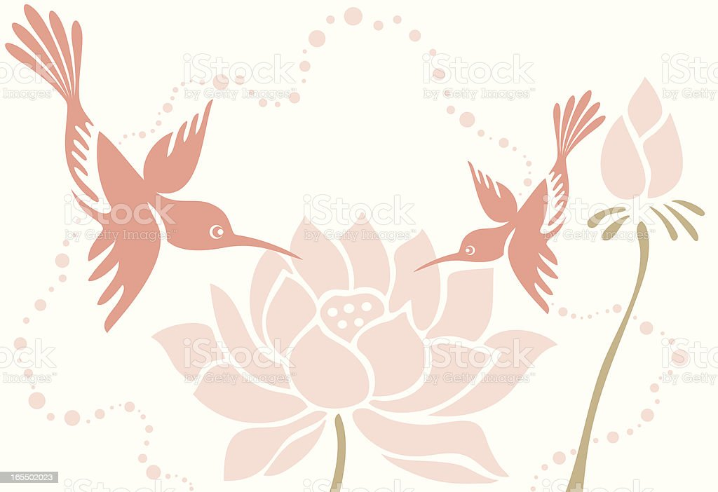Humming Bird Mom & Child with Lotus Flowers royalty-free stock vector art