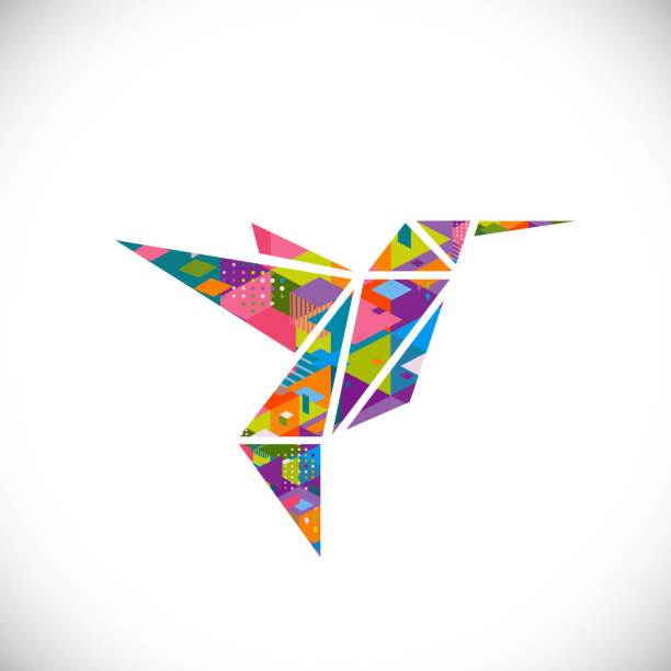 Humming bird symbol with colorful geometric graphic in triangle concept vector art illustration