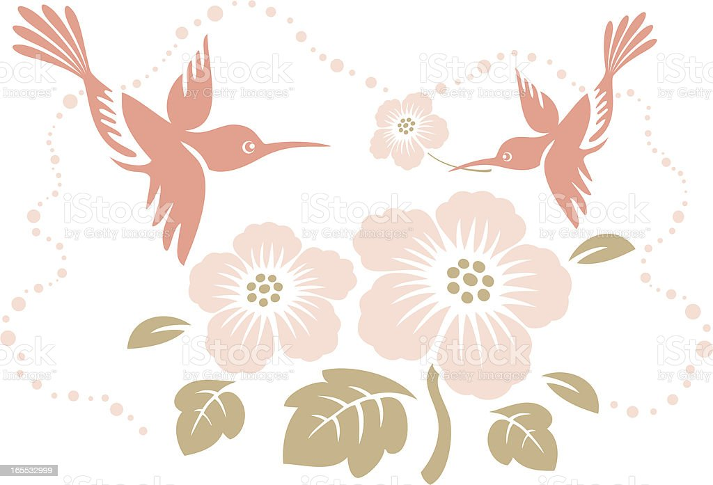 Humming Birds & Tropical Flower royalty-free stock vector art