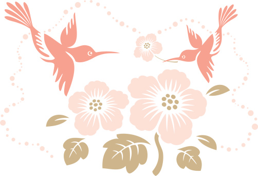 Humming Birds & Tropical Flower