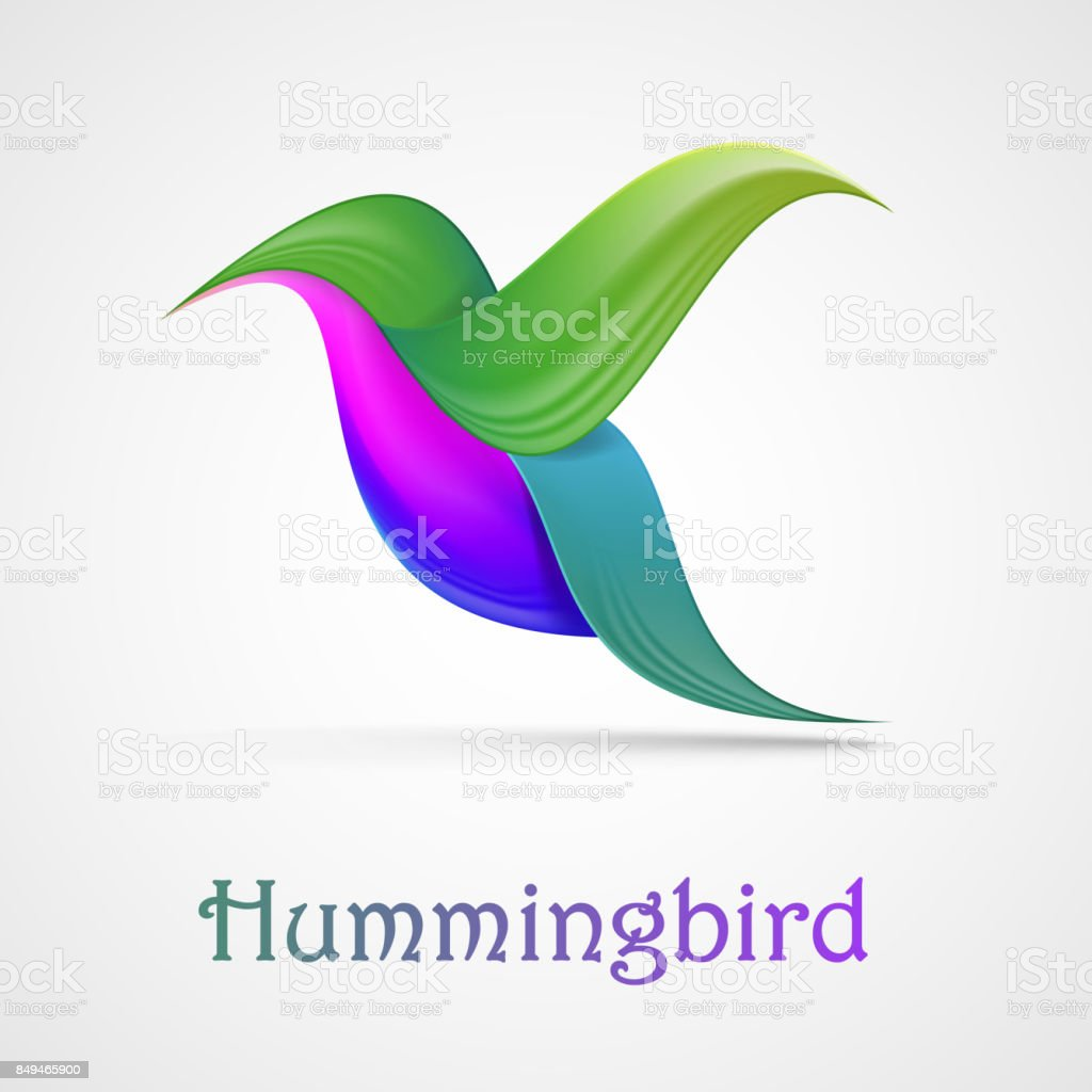 Hummingbird Abstract Symbol Illustration Isolated On Background