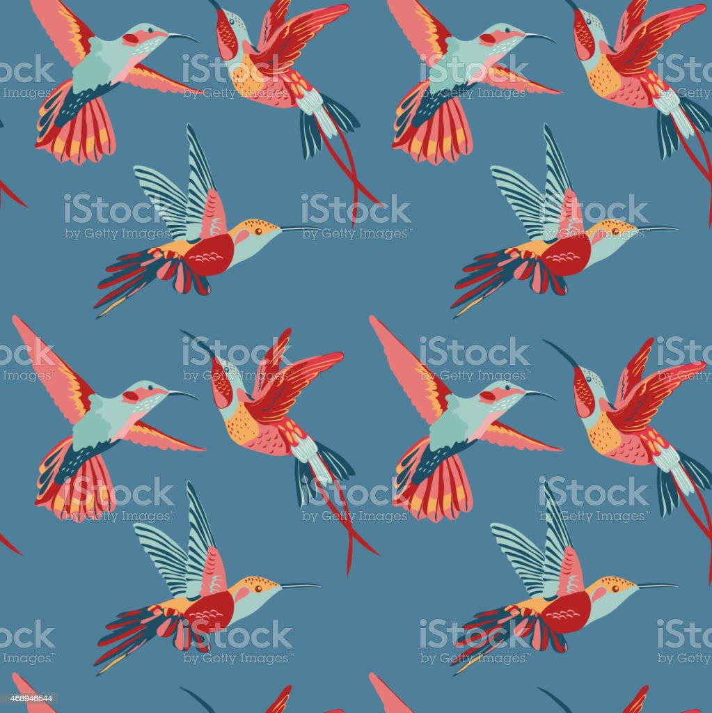 Hummingbird Background - Retro seamless pattern - Royalty-free 2015 stock vector