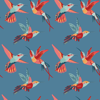 Hummingbird Background Retro Seamless Pattern Stock Illustration - Download Image Now