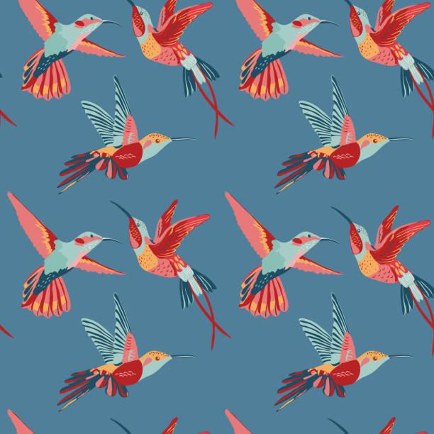 hummingbird background - retro seamless pattern - hummingbird stock illustrations
