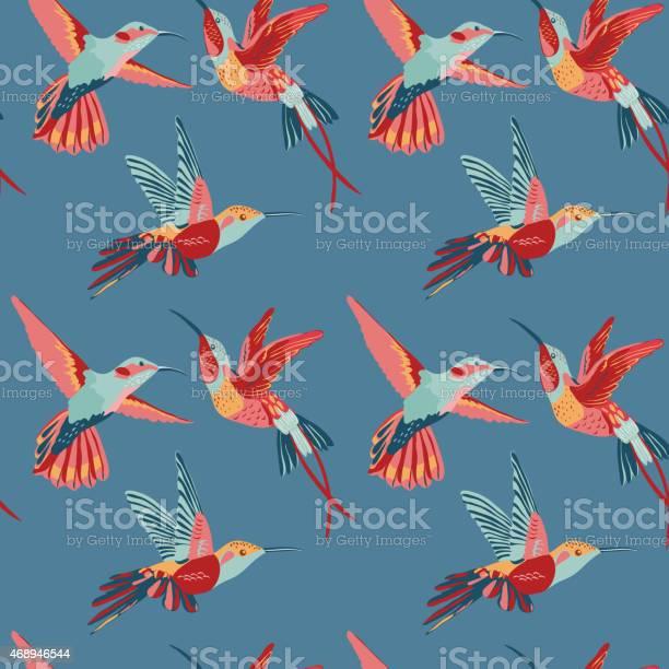 Hummingbird Background Retro Seamless Pattern Stock Illustration - Download Image Now