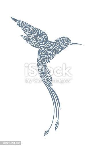 Stylized, monochrome hummingbird silhouette.