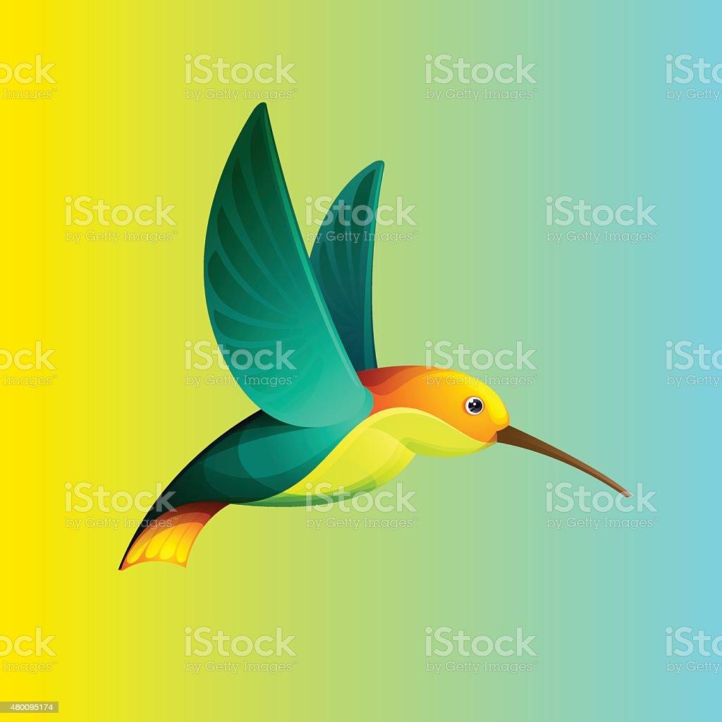 Hummingbird character for icon vector art illustration