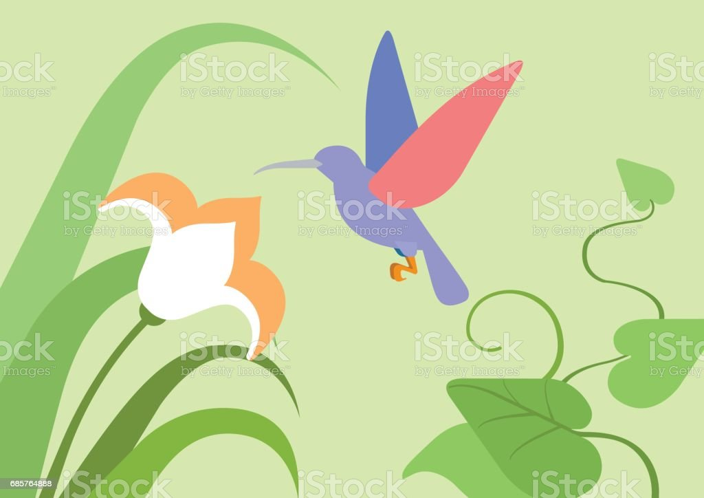 Hummingbird flower natural habitat background flat design cartoon vector wild animals birds. Flat zoo nature children collection. hummingbird flower natural habitat background flat design cartoon vector wild animals birds flat zoo nature children collection - immagini vettoriali stock e altre immagini di animale royalty-free