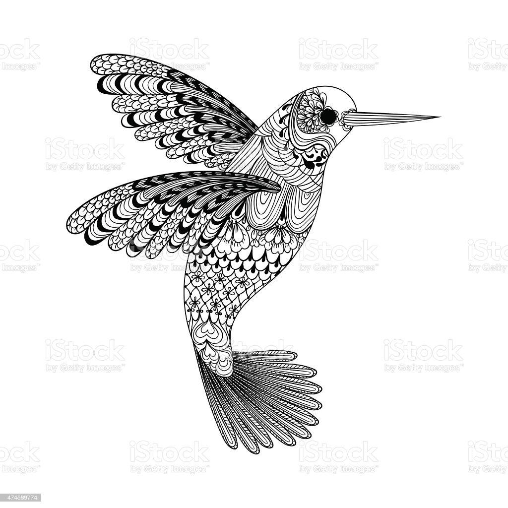 Ilustración De Zentangle Hermoso Colibrí Negro Dibujo A Mano Vector