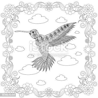 Ilustración de Colibrí En Bosquejo Monocromo De Marco Flores ...
