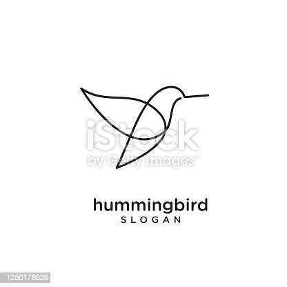 istock Hummingbird line abstract simple modern isolated black background 1250178026