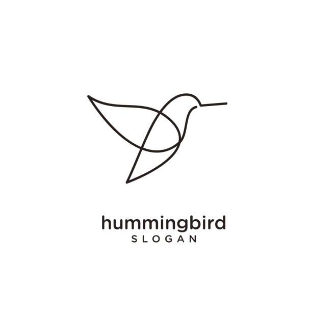 Hummingbird line abstract simple modern isolated black background Hummingbird line abstract simple black white modern isolated black background hummingbird stock illustrations