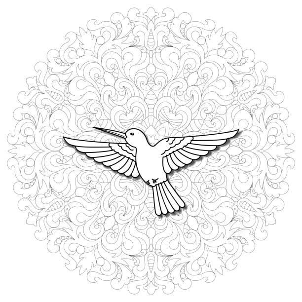 Hummingbird Mandala Composition vector art illustration