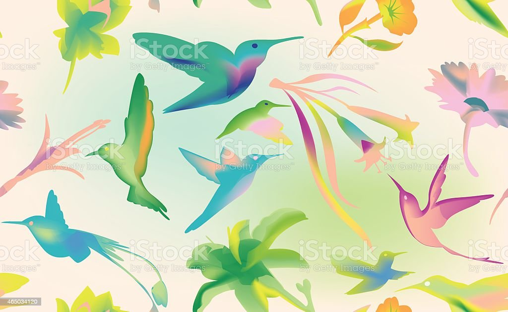Hummingbird seamless background vector art illustration