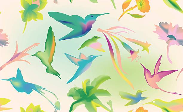 Hummingbird seamless background vector art illustration
