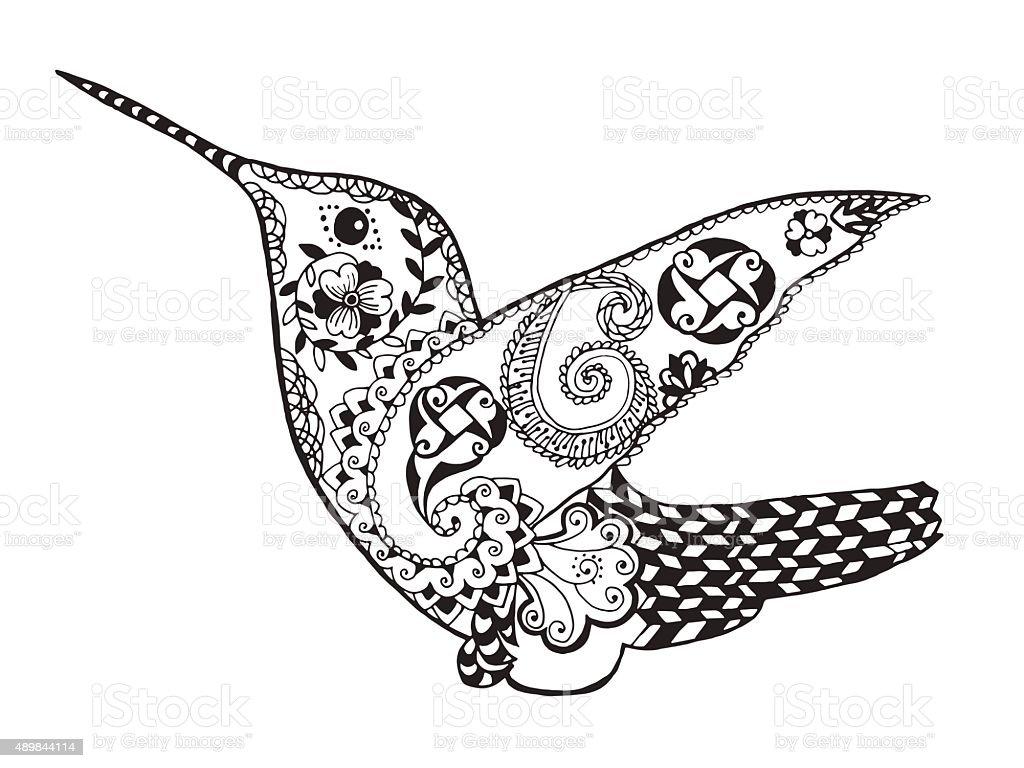 Hummingbird. Sketch for tattoo or t-shirt vector art illustration