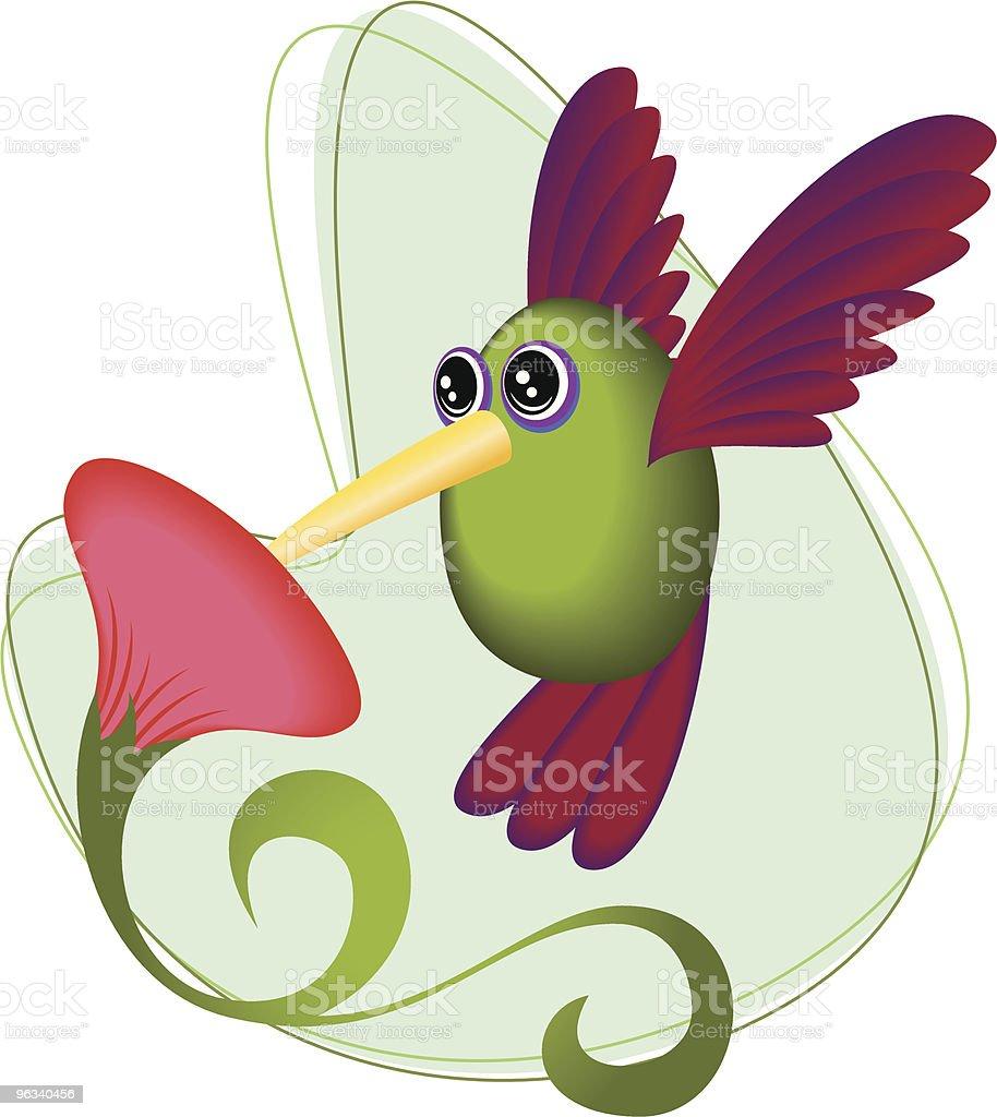 Hummingbird próbować Flower - Grafika wektorowa royalty-free (Koliber)