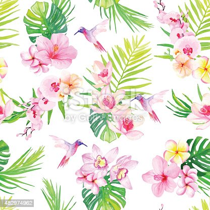 istock Hummingbirds and flowers seamless vector pattern 482974962