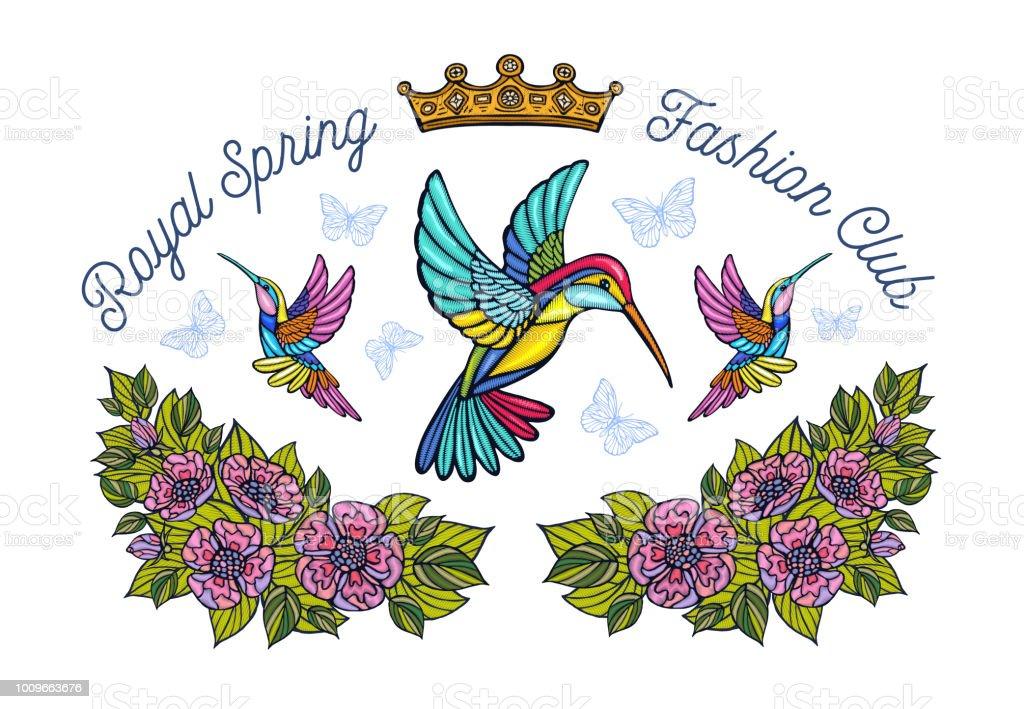 Ilustración de Colibríes Mariposas Corona Flores El Remiendo Del ...