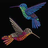 Hummingbirds embroidery. Embroidered bird
