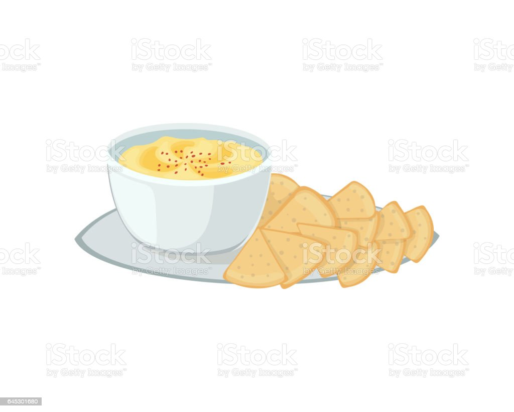 Hummus jewish food appetizer mashed chickpeas with tahin traditional meal cuisine parsley matzah and vegetarian delicious lunch soup vector illustration vector art illustration