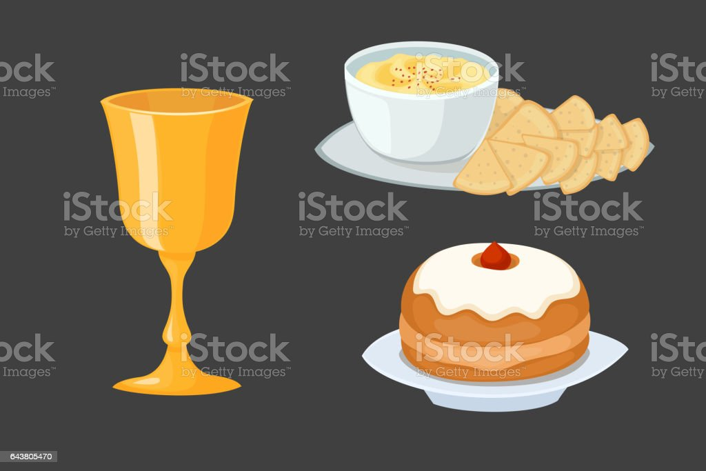 Hummus jewish food pie appetizer mashed chickpeas with tahin traditional meal cuisine parsley matzah and vegetarian delicious lunch soup vector illustration vector art illustration
