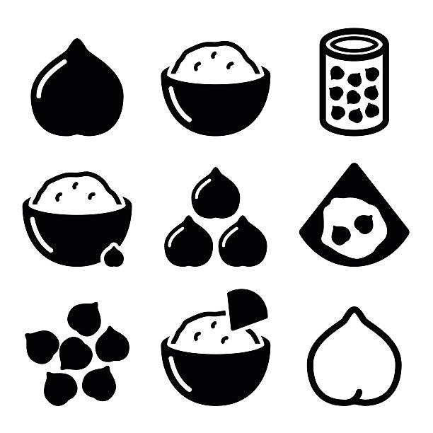 Hummus or houmous , chickpeas vector icons set Food icons set - hummus dip or spread isolated on white  chick pea stock illustrations