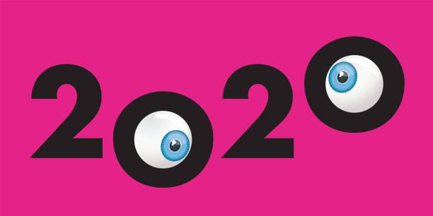 ilustraciones, imágenes clip art, dibujos animados e iconos de stock de tarjeta de felicitación humorística 2020 que muestra dos ojos entrecerrados - ojos azules
