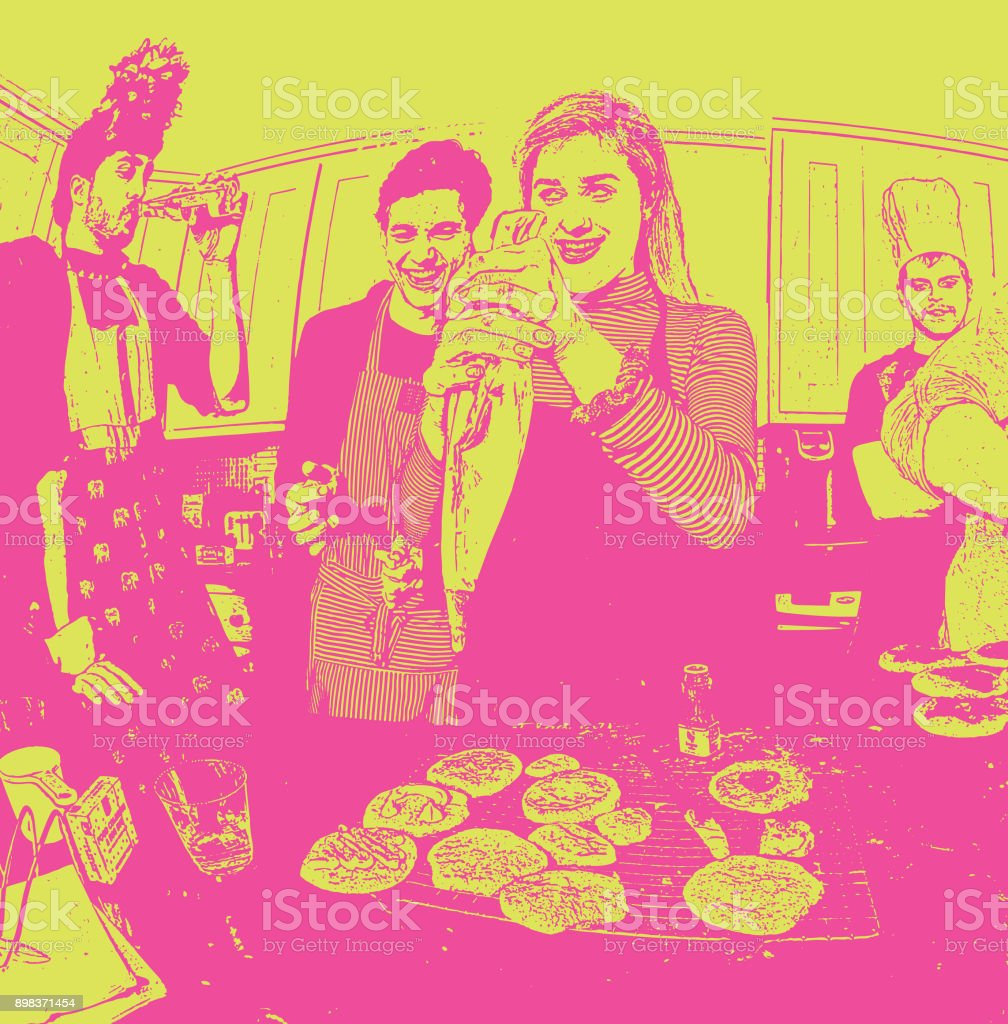 Humorous, colorful illustration of friends baking cookies and having fun vector art illustration