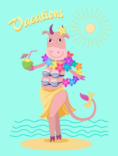 ストライプの水着、波の背景にビーチの海岸にカラフルなプルメリアの花の花輪でユーモラスなかわいい漫画牛。t シャツ プリント、ポストカード、パーティの招待状 - 花のボーダー点のイラスト素材/クリップアート素材/マンガ素材/アイコン素材