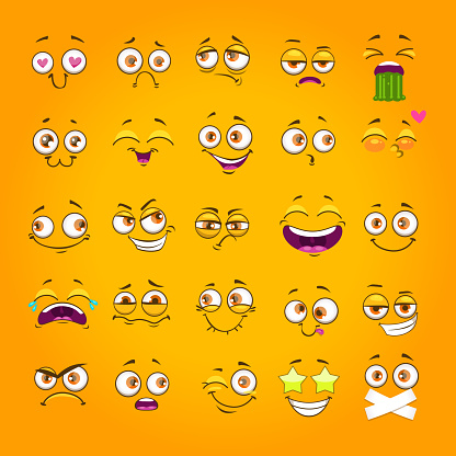 Humorous emoji set. Emoticon face collection. Funny cartoon comic faces on yellow background