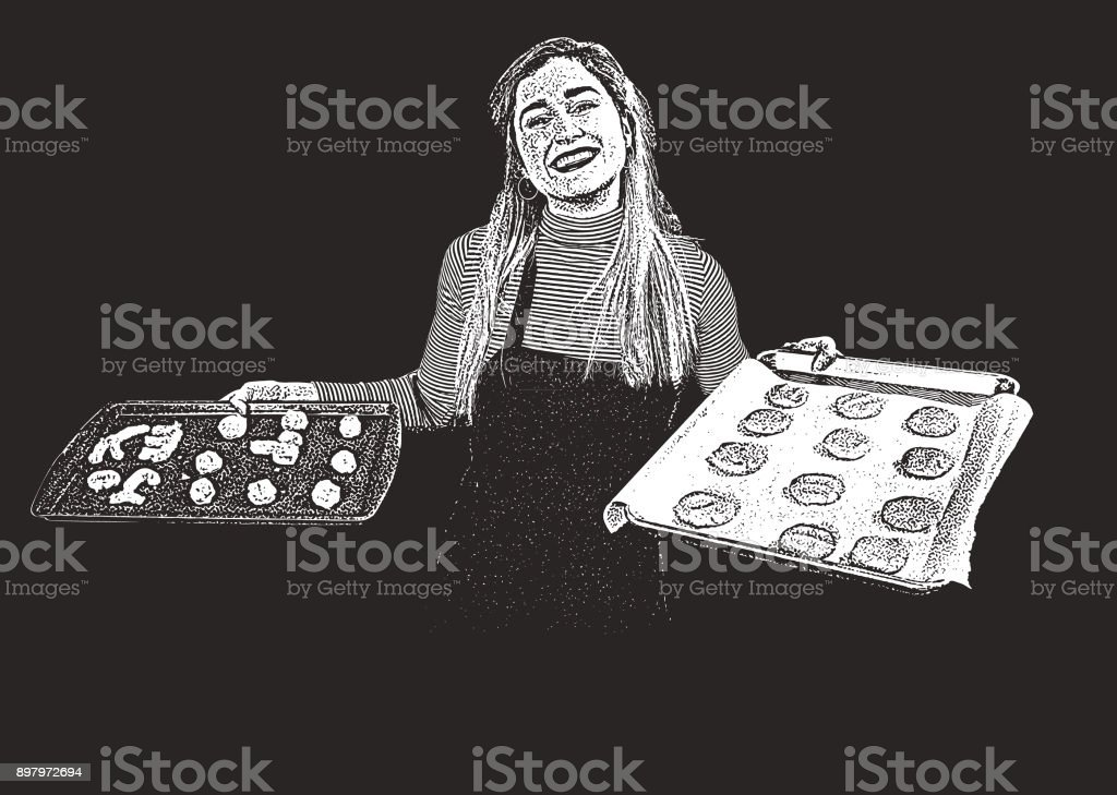 Humorous illustration of a young woman baking cookies, showing two baking sheets of cookies vector art illustration