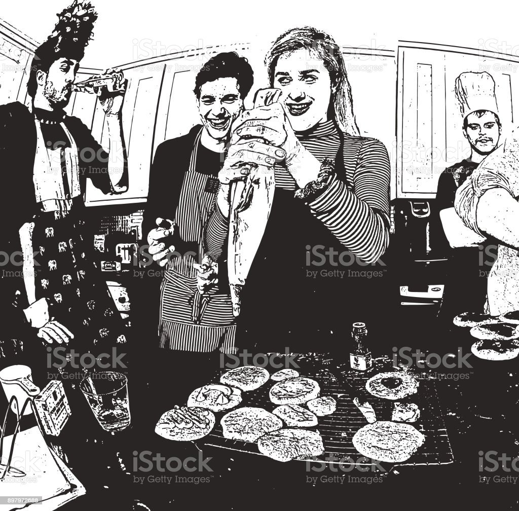 Humorous, illustration of friends baking cookies and having fun vector art illustration