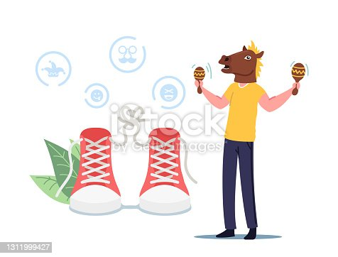 istock Humorous Situation at First April Fools Day. Character Joking Friends Doing Prank Tricks. Man Wearing Funny Horse Head 1311999427