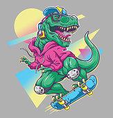 Humorous T rex Dinosaur riding on skateboard. Cool 80's illustration style.