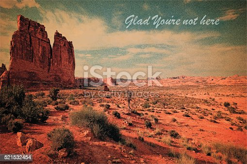 Humorous blank vintage postcard. Arches National Park. American Southwest.