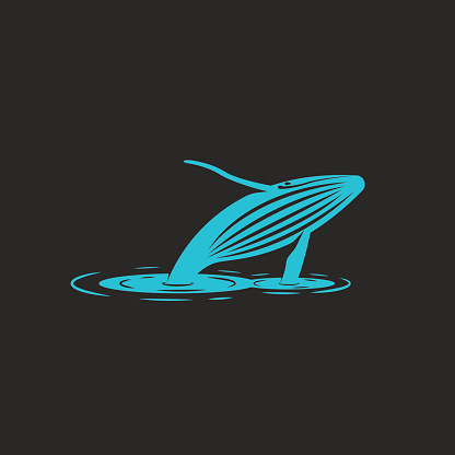 A humpback whale jump out of the water, a silhouette of a blue whale with ripples on the water, an illustration that characterizes the freedom of the animal. T-shirt print emblem or icon,  mockup for a naturally protective organization or foundation.