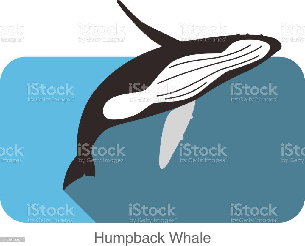 Buckelwale springen in See, Tier-Symbol – Vektorgrafik