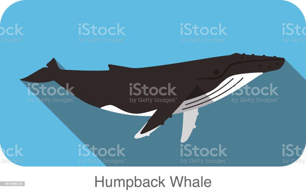 Buckelwale Schwimmen im Meer, Tier-Symbol – Vektorgrafik