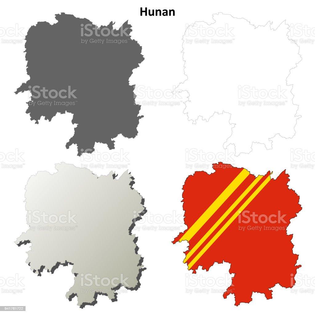 Carte Chine Hunan.Jeu De Carte Pour Le Contour Du Flan Hunan Cliparts Vectoriels Et