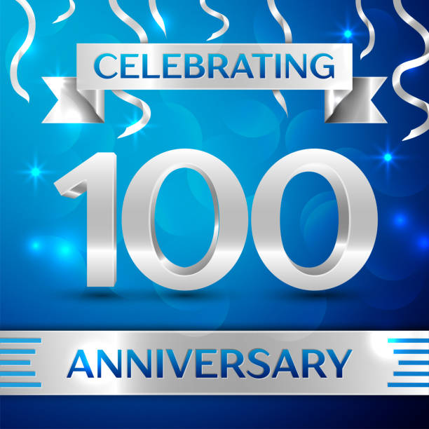 Hundred 100 Years Anniversary Celebration Design. Confetti and silver ribbon on blue background. Colorful Vector template elements for your birthday party. Anniversary ribbon Hundred 100 Years Anniversary Celebration Design. Confetti and silver ribbon on blue background. Colorful Vector template elements for your birthday party. Anniversary ribbon 100th anniversary stock illustrations