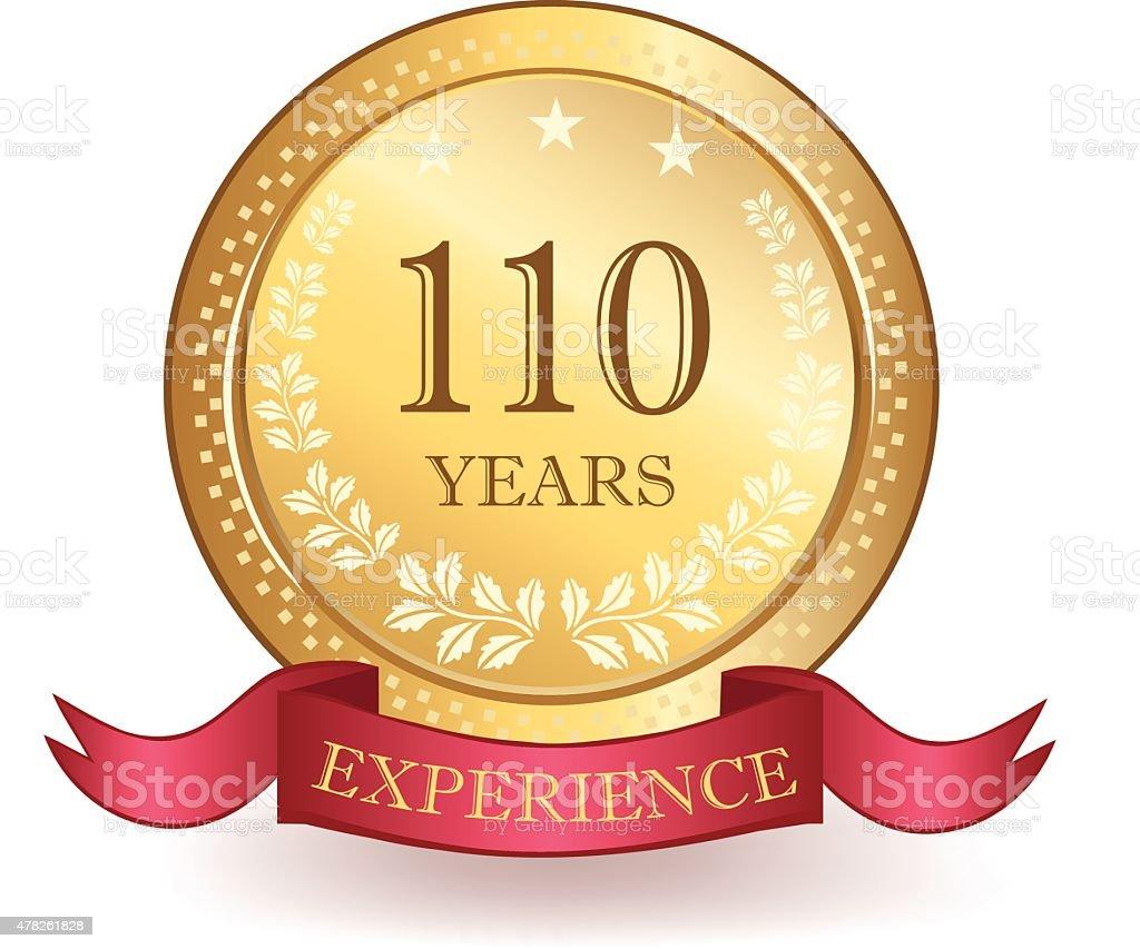 Hundert und zehn Jahre Erfahrung Banner – Vektorgrafik
