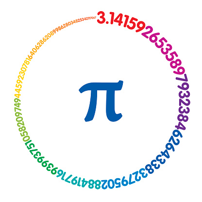 Hundred digits of number Pi forming a rainbow colored circle
