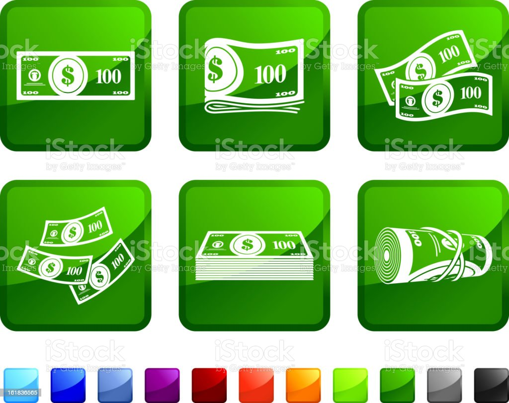 Hundred Dollar Money Bills royalty free vector icon set stickers vector art illustration
