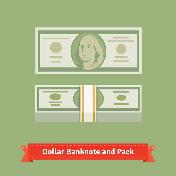 Hundred dollars banknote and money pack with strap Hundred dollars banknote and money pack with strap. Flat style vector icons. american one hundred dollar bill stock illustrations