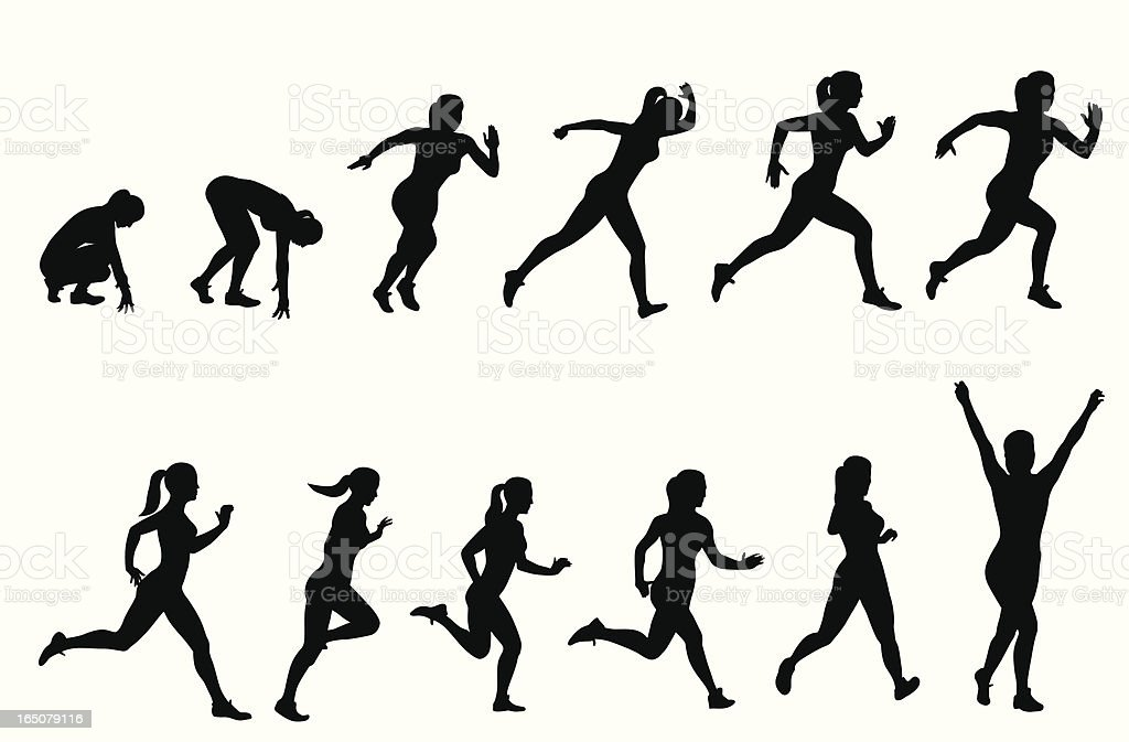 Hundred Meters Vector Silhouette royalty-free hundred meters vector silhouette stock vector art & more images of 100 meter