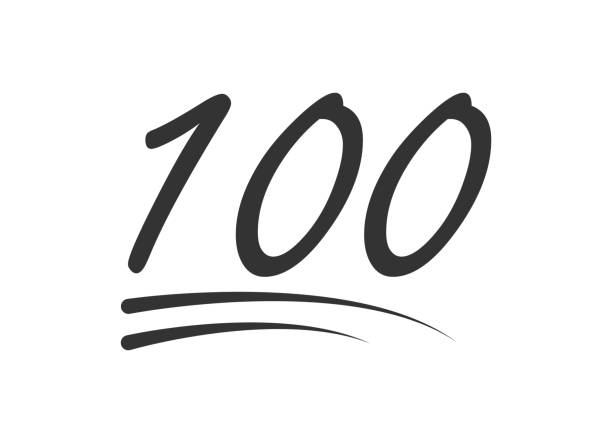 100 - hundred number vector icon. symbol isolated on white background - emoji stock illustrations, clip art, cartoons, & icons