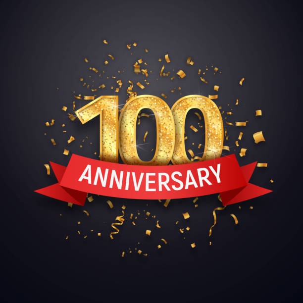Hundred years anniversary icon template. 100 th celebrating golden numbers with red ribbon vector and confetti isolated design elements Hundred years anniversary icon template 100 th celebrating golden numbers with red ribbon vector and confetti isolated design elements 100th anniversary stock illustrations