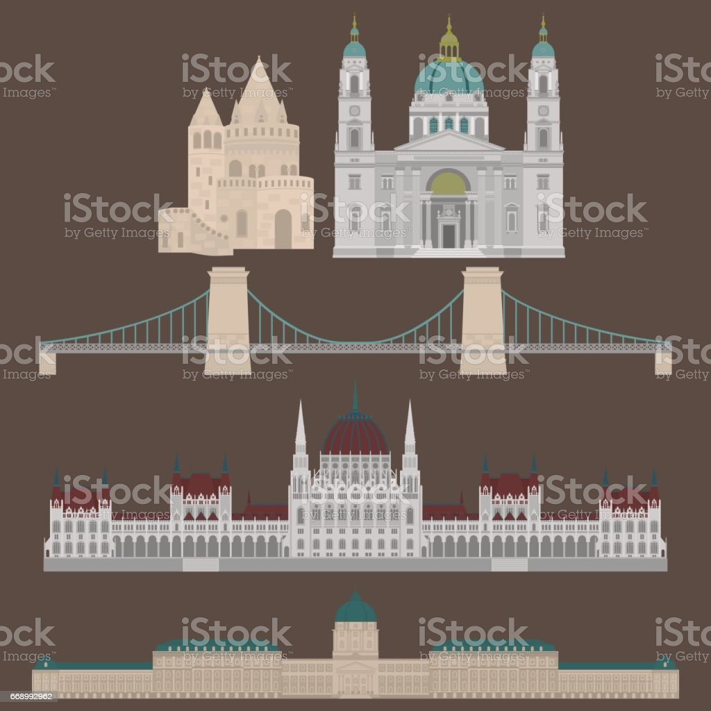 Hungarian City sights in Budapest. Hungary Landmark Travel And Journey Architecture Elements Buda castle, Chain Bridge. Budapest parliament, Fisherman's bastion, St. Istvan basilica vector art illustration